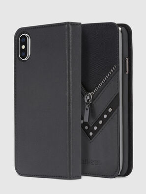 BLACK DENIM/STUD/ZIPPER IPHONE X FOLIO, Black - Flip covers