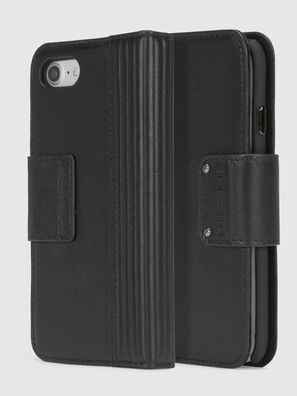 BLACK LINED LEATHER IPHONE 8/7 FOLIO, Black - Flip covers