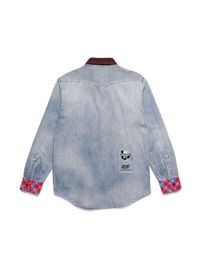 Diesel - D-DEEPCHECK-A, Blue/Red - Denim Shirts - Image 2