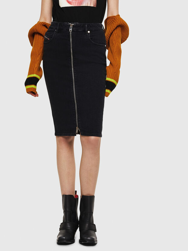 DE-PENCIL-ZIP, Black - Skirts