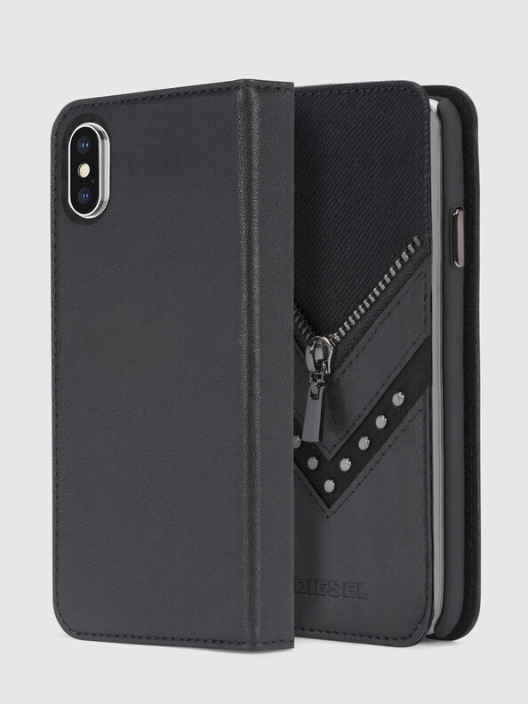 BLACK DENIM/STUD/ZIPPER IPHONE X FOLIO,  - Flip covers