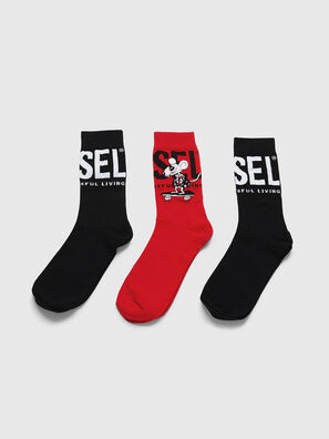 CL-RAY-THREEPACK, Black/Red - Socks