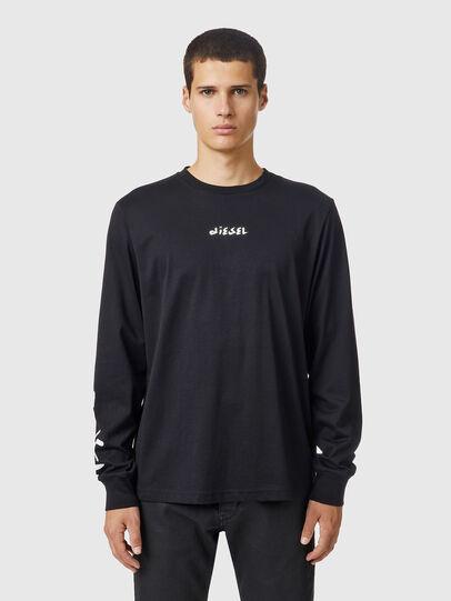 Diesel - T-JUST-LS-SLITS-B53, Black - T-Shirts - Image 1
