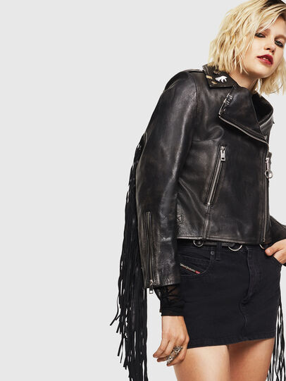 Diesel - L-HELGAT, Black - Leather jackets - Image 1