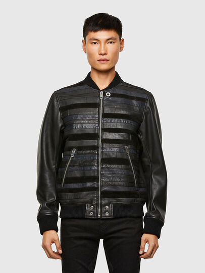 Diesel - L-ROGER, Black - Leather jackets - Image 1