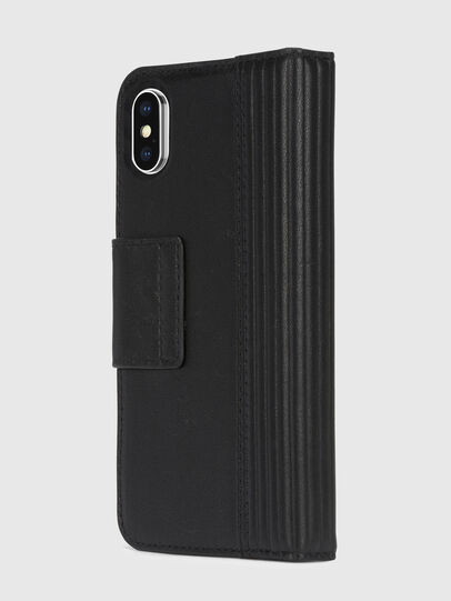 Diesel - BLACK LINED LEATHER IPHONE X FOLIO,  - Flip covers - Image 4
