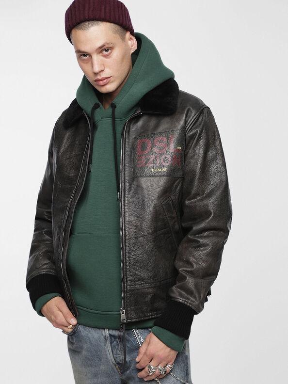 L-BOWDRE-PAINT, Black Leather - Leather jackets