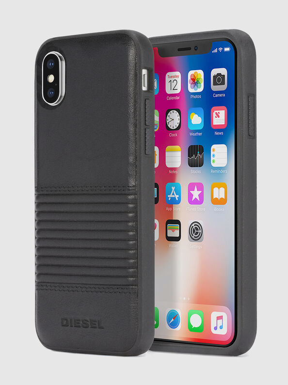 BLACK LINED LEATHER IPHONE X CASE,  - Cases