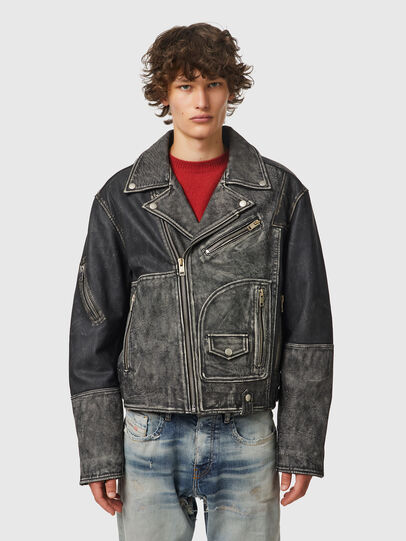 Diesel - L-CONWAY, Black - Leather jackets - Image 1