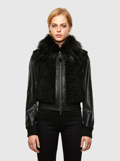Diesel - L-LEDA, Black - Leather jackets - Image 1