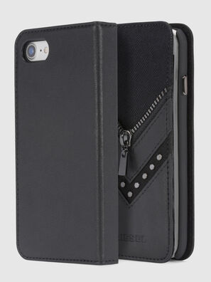 BLACK DENIM/STUD/ZIPPER IPHONE 8/7 FOLIO, Black - Flip covers