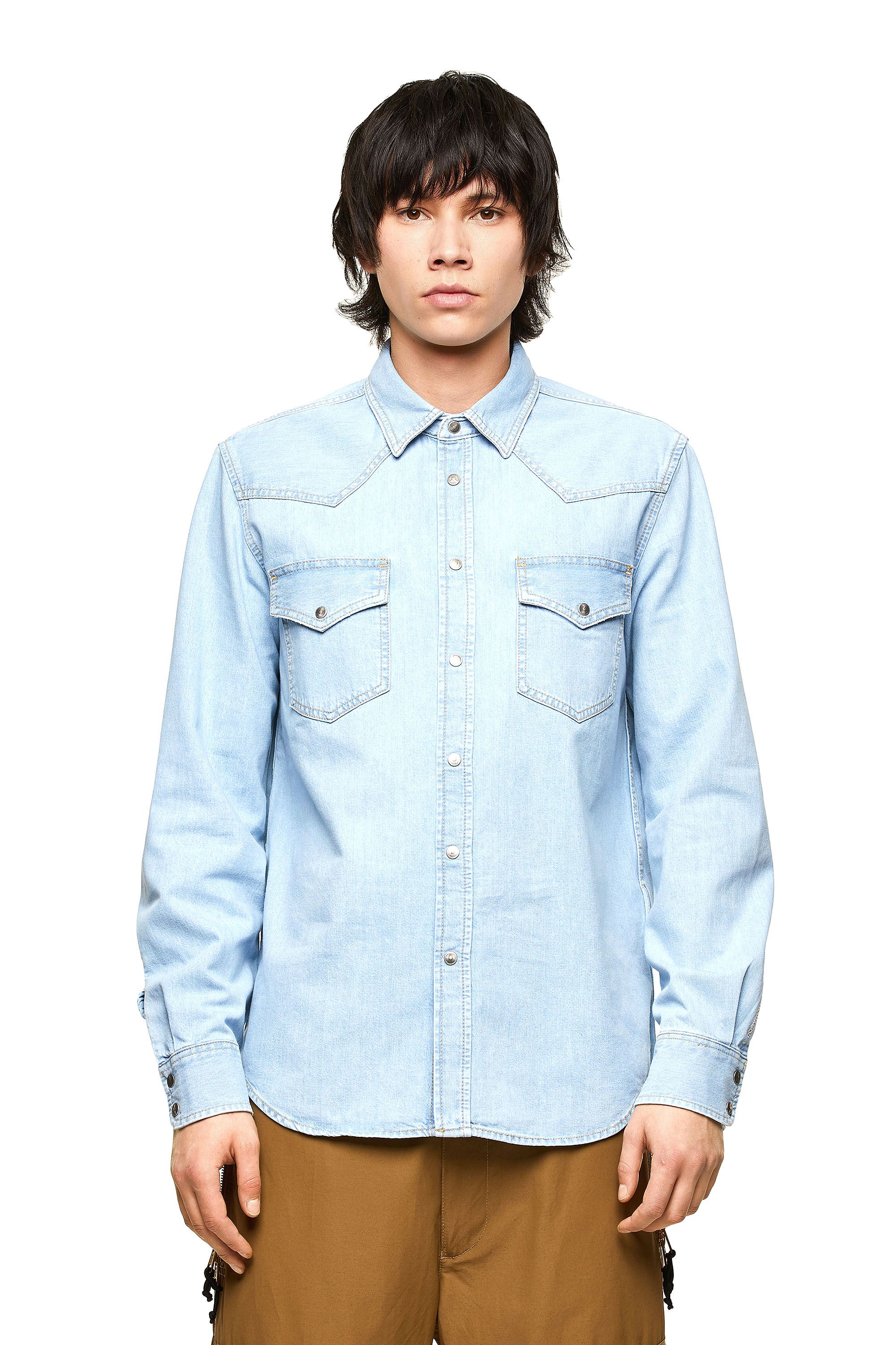 Diesel - D-EAST-P1, Light Blue - Denim Shirts - Image 1