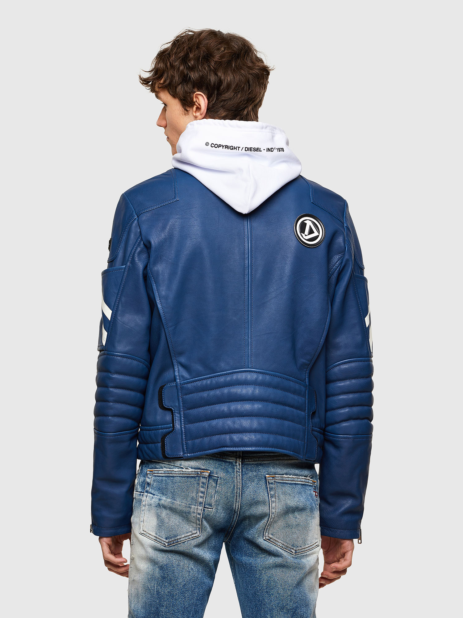 Diesel - L-FULK, Blue - Leather jackets - Image 2
