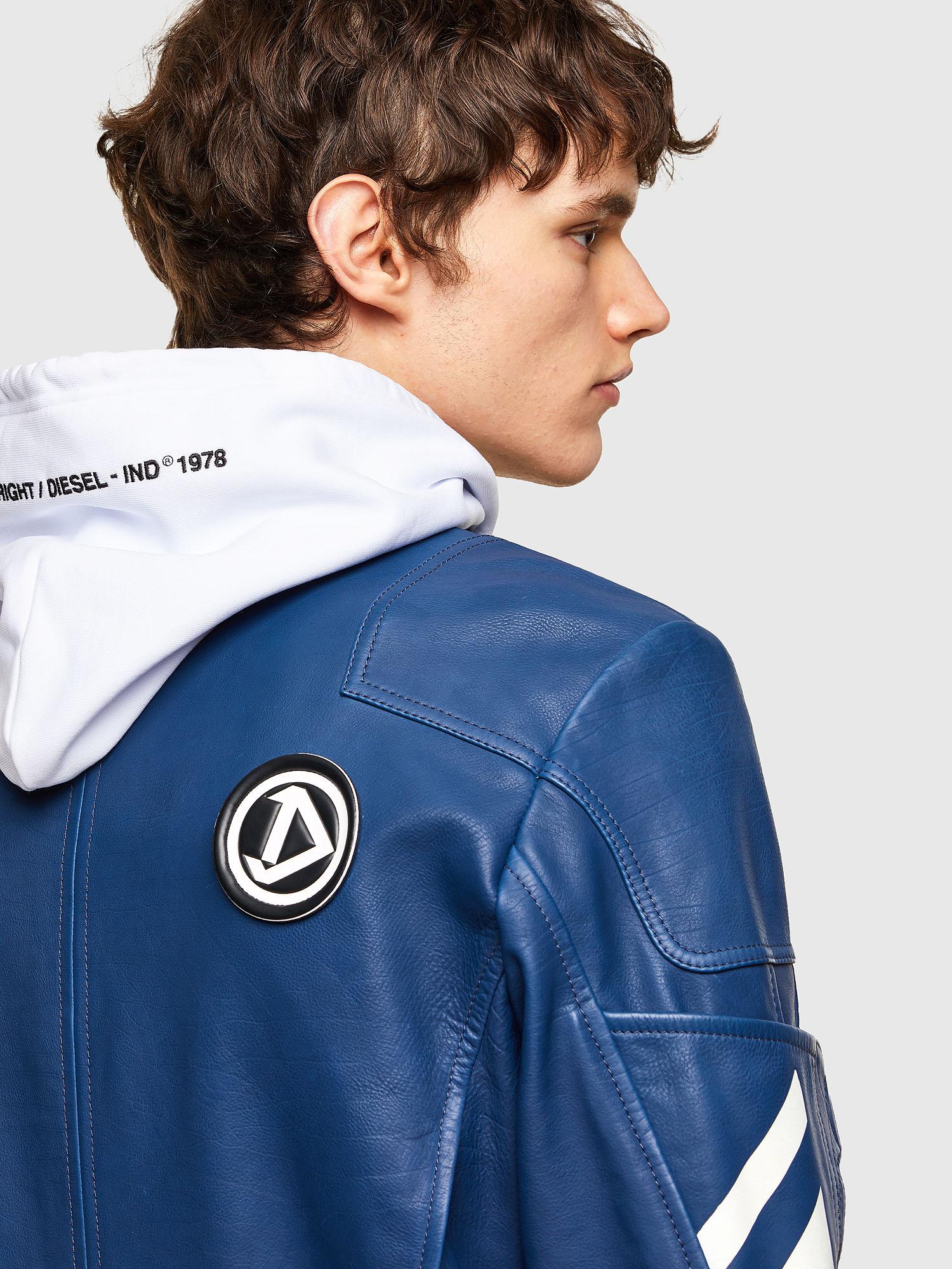 Diesel - L-FULK, Blue - Leather jackets - Image 5