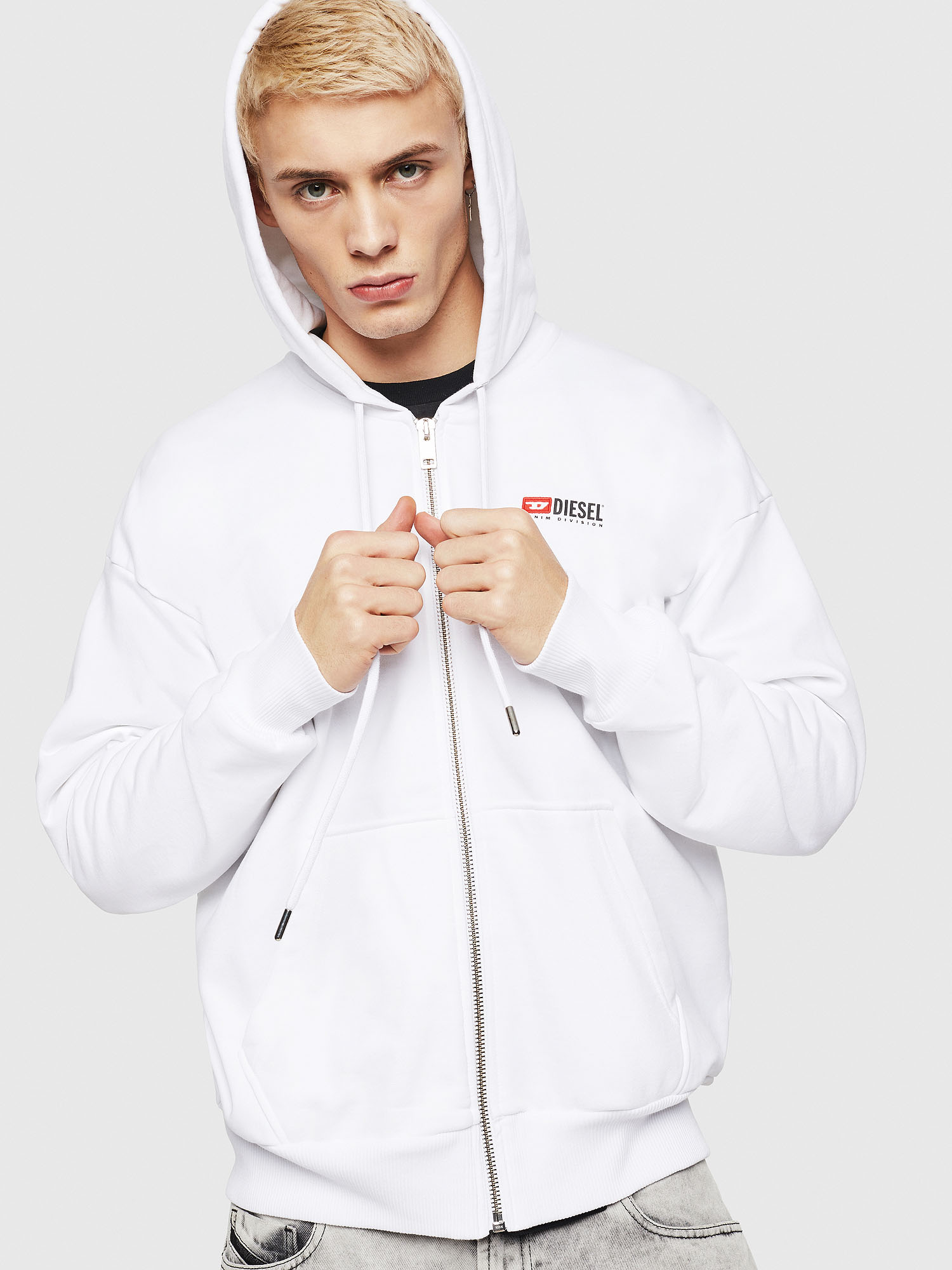 Diesel - S-ALBY-ZIP-DIV, White - Sweaters - Image 1