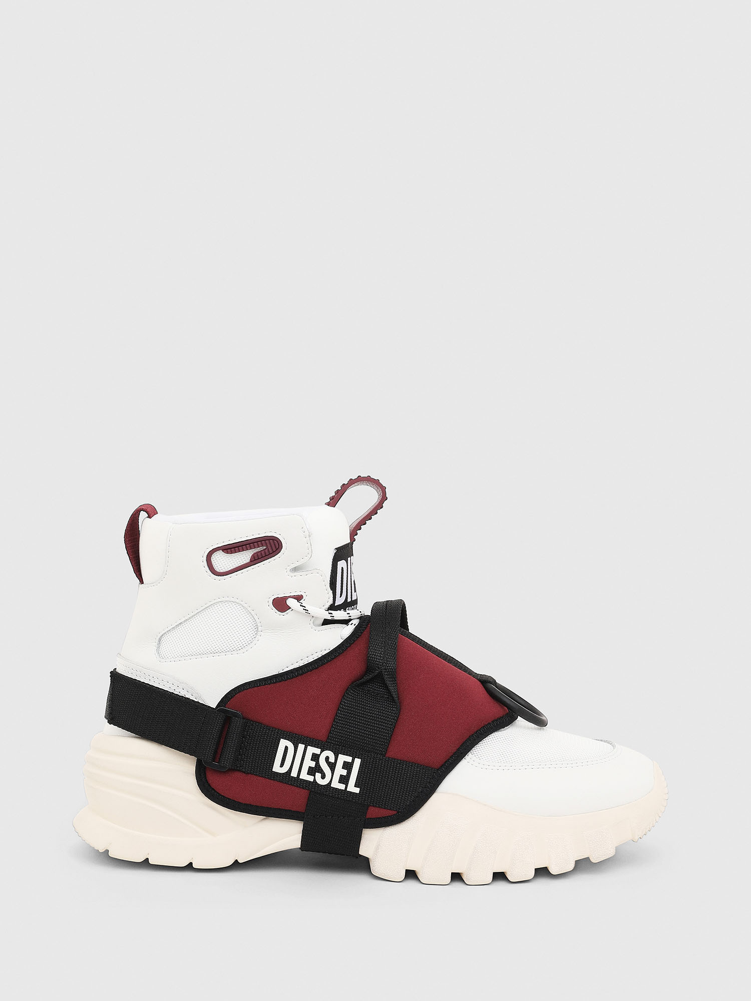 Diesel - S-SHARQUEZ MID, White/Red - Sneakers - Image 1