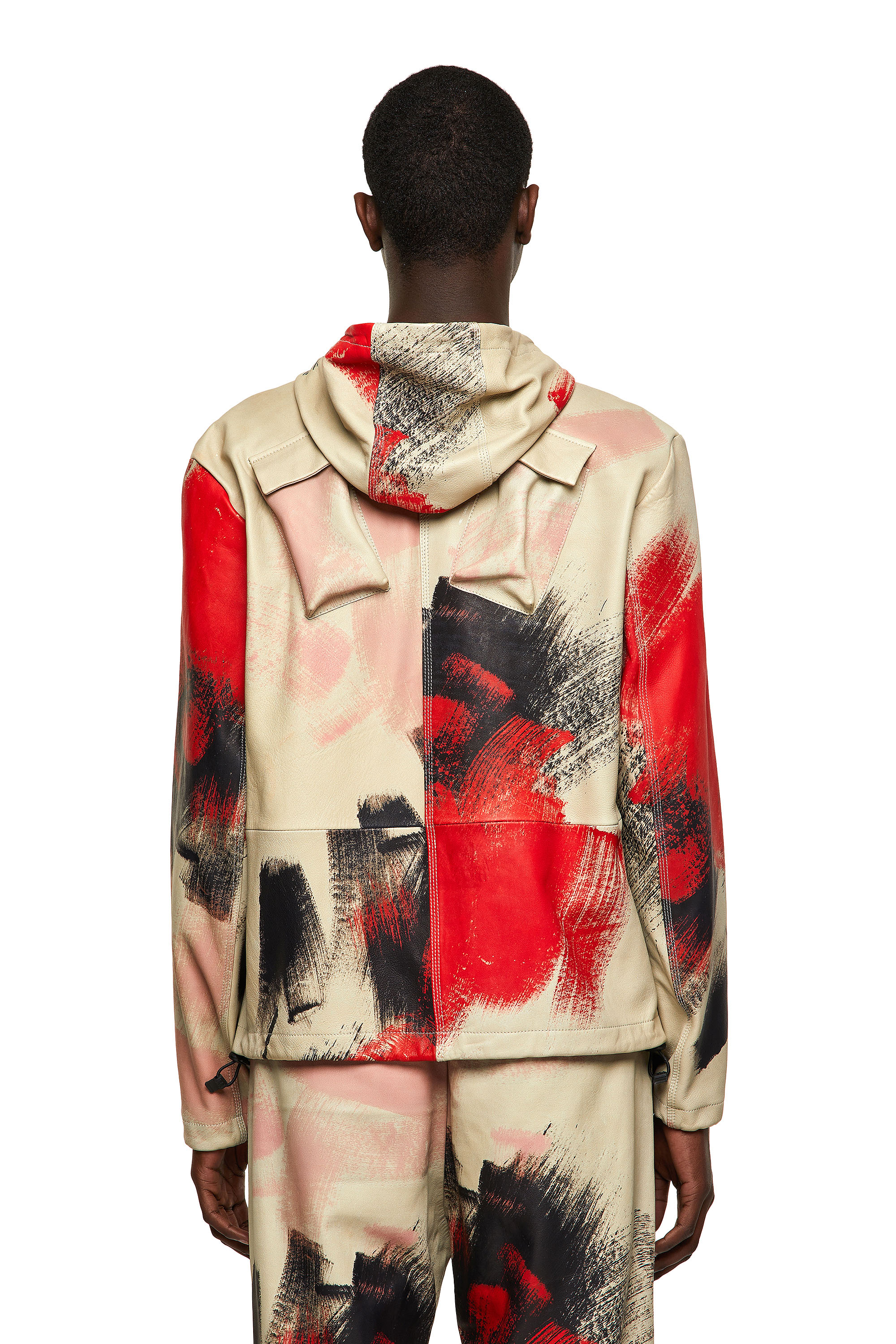 Diesel - J-GRANT-CMF, White/Red - Leather jackets - Image 2